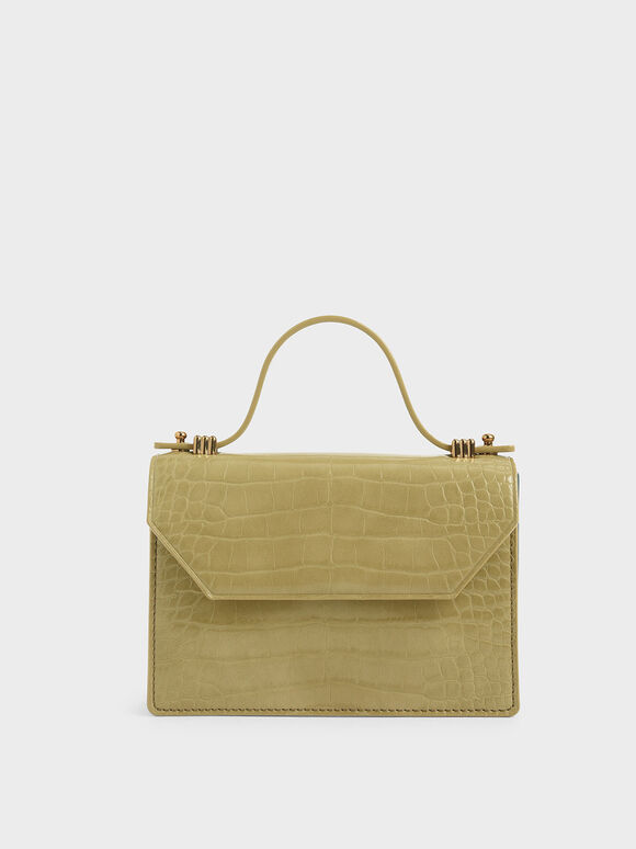 Croc-Effect Mini Top Handle Clutch, Sand, hi-res