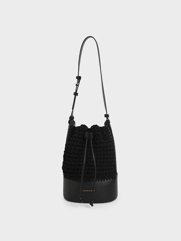 Crochet Drawstring Bucket Bag, Black, hi-res