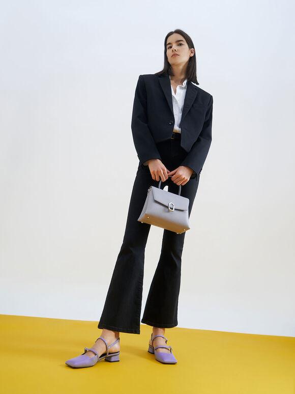 Stone-Embellished Front Flap Bag, Lilac, hi-res