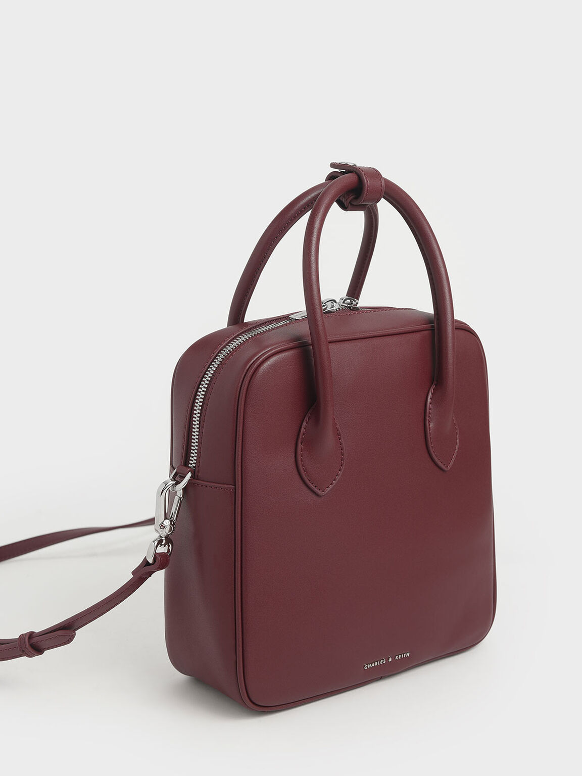 Double Handle Square Tote, Burgundy, hi-res