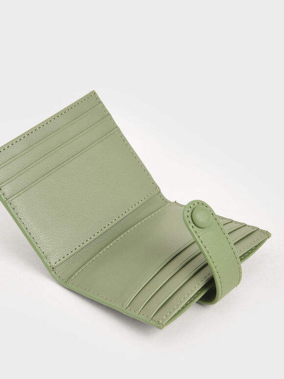 Snap Button Card Holder, Sage Green, hi-res