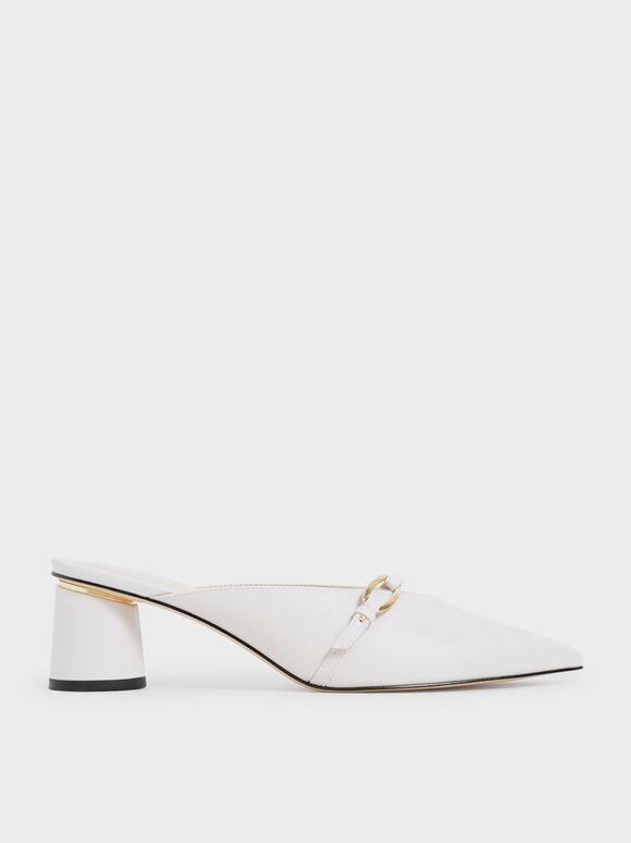 拼接帶穆勒鞋, 白色, hi-res