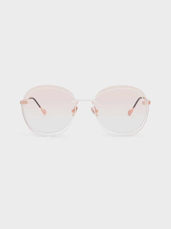 Cut Out Gradient Lens Butterfly Sunglasses, Orange, hi-res