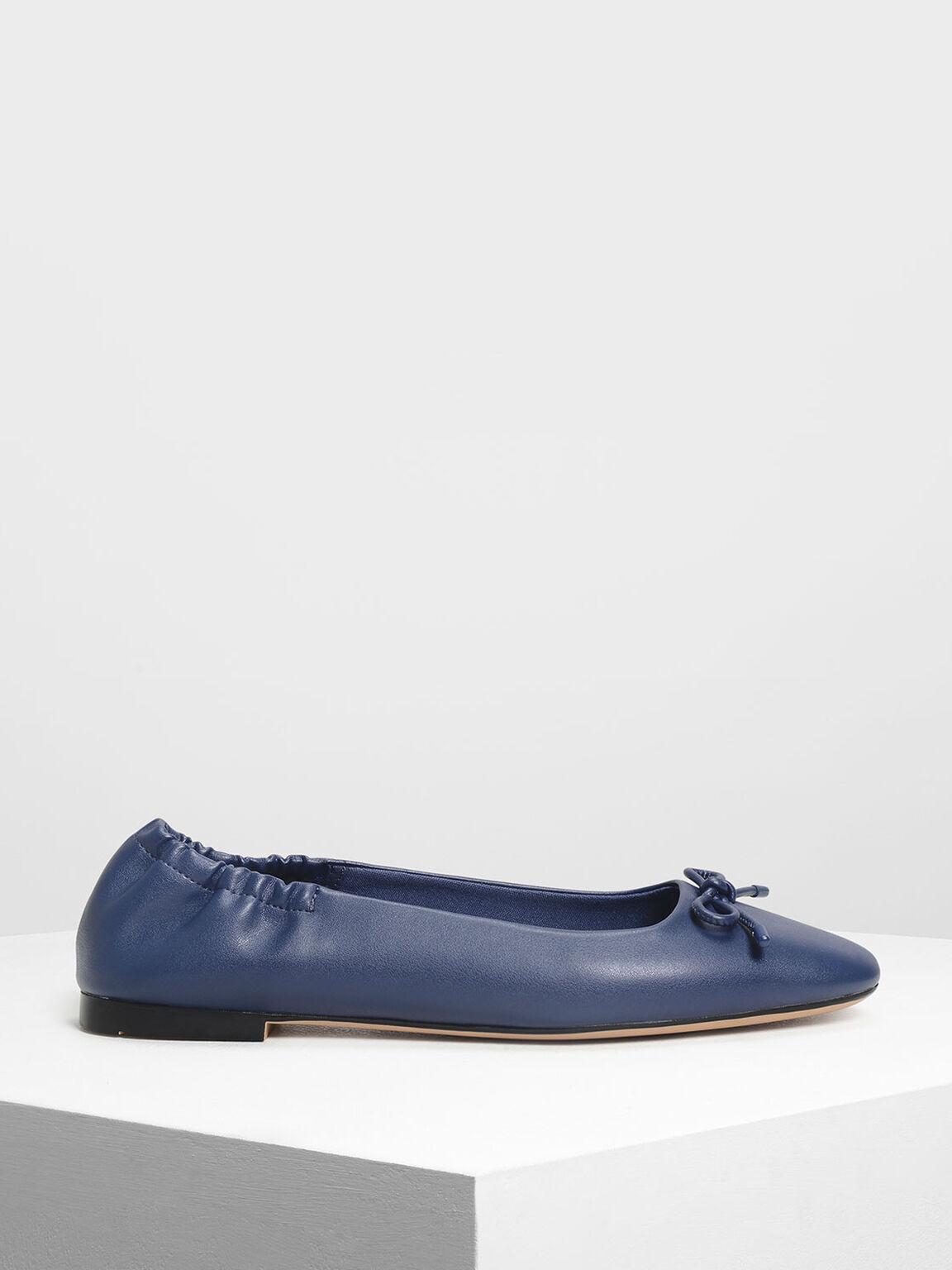 Bow Ballerina Flats, Dark Blue, hi-res