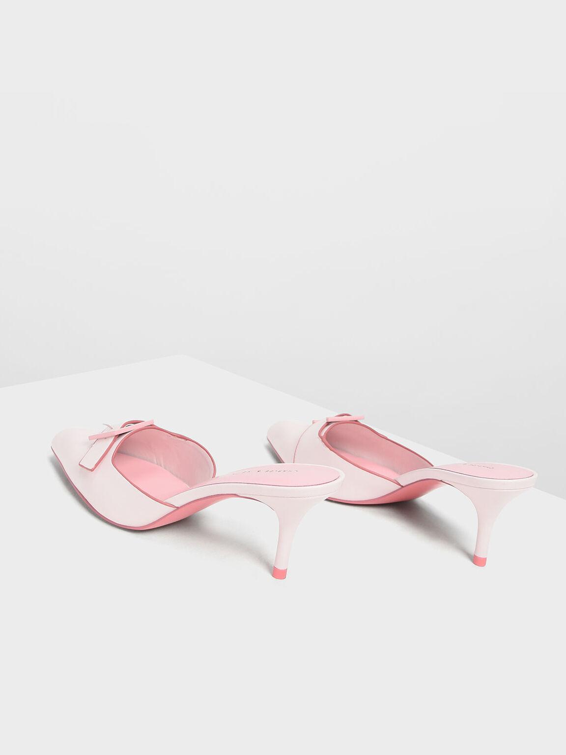 Buckle Kitten Heel Mules, Light Pink, hi-res