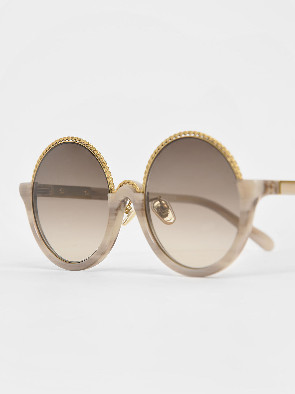 Printed Half Frame Embellished Round Sunglasses, Cream, hi-res