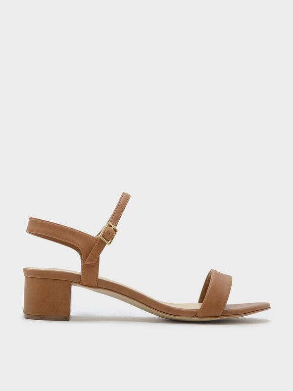 Basic Open-Toe Sandals, Camel, hi-res