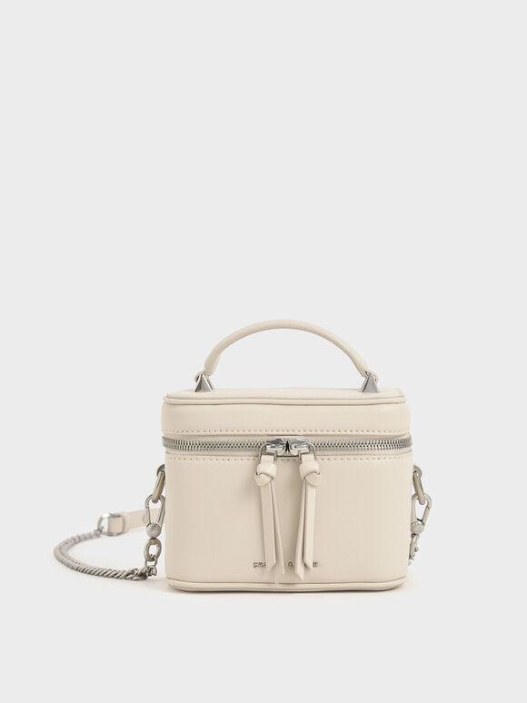 Two-Way Zip Box Bag, Chalk, hi-res