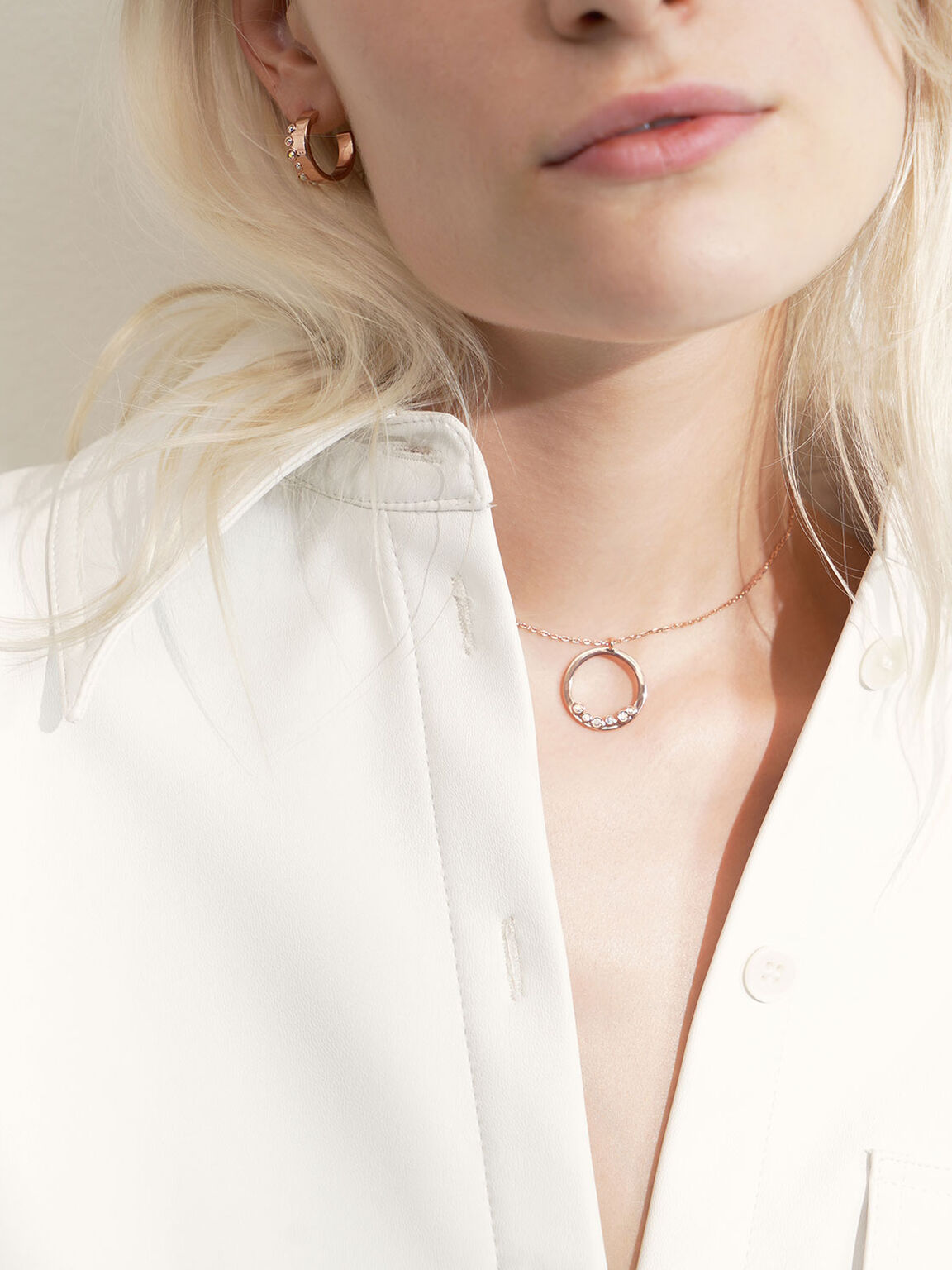 Swarovski® Crystal Studded Pendant Necklace, Rose Gold, hi-res