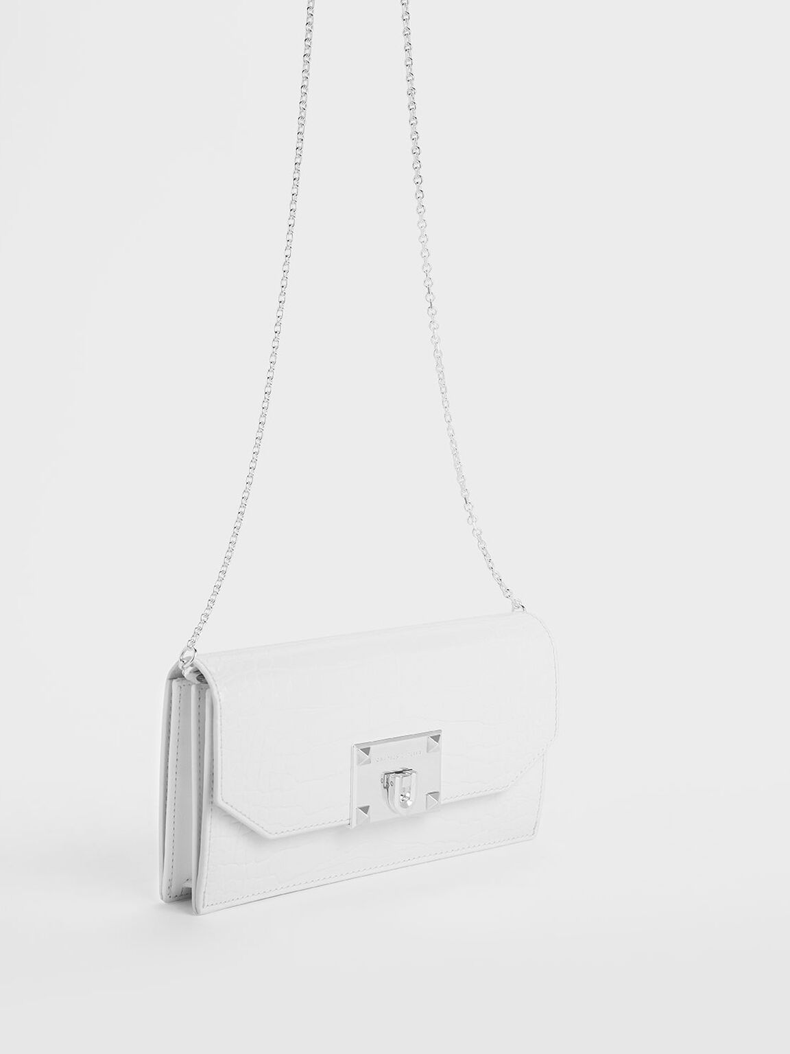 Croc-Effect Push Lock Flap Wallet, White, hi-res