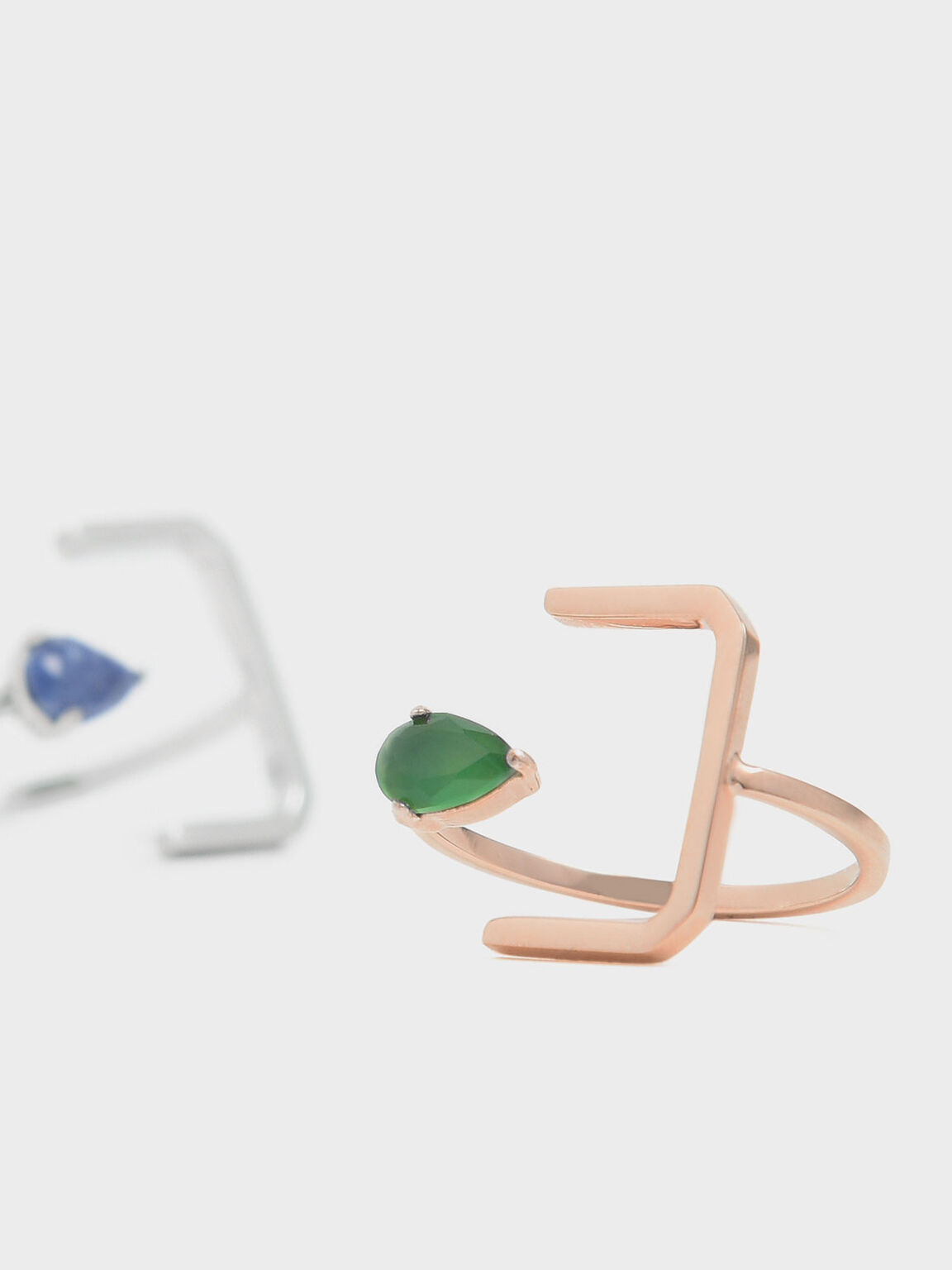 Green Agate Stone Angular Ring, Rose Gold, hi-res