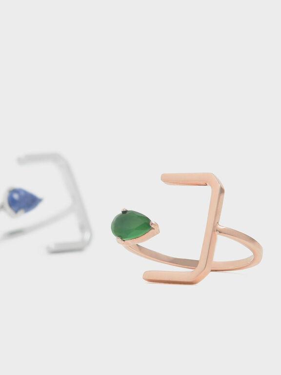Green Agate Stone Angular Ring, Rose Gold