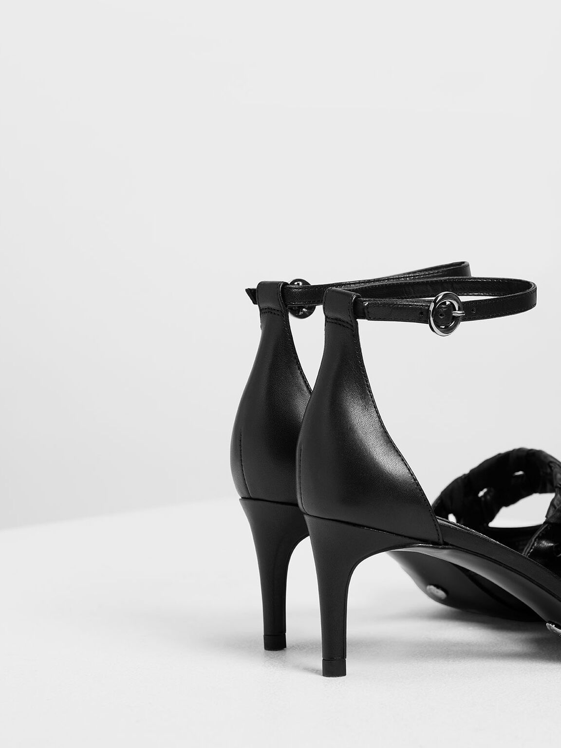 Weave Detail Leather D'Orsay Pumps, Black, hi-res