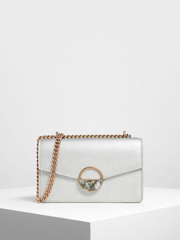 Round Plaque Detail Mini Shoulder Bag, Silver