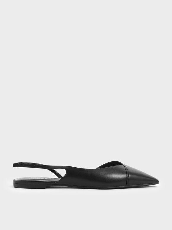 Asymmetric Slingback Flats, Black, hi-res