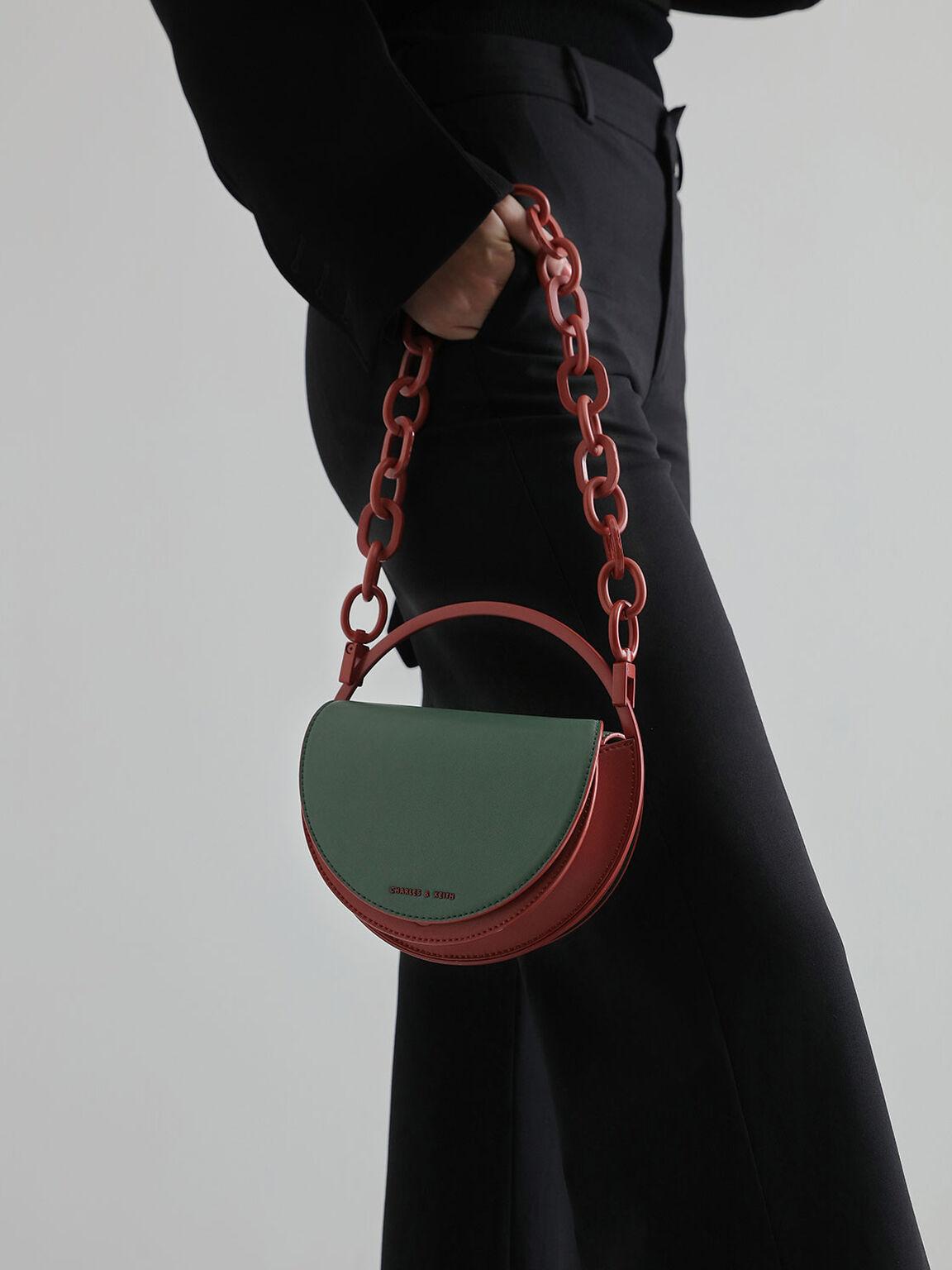 Semi-Circle Clutch, Green, hi-res