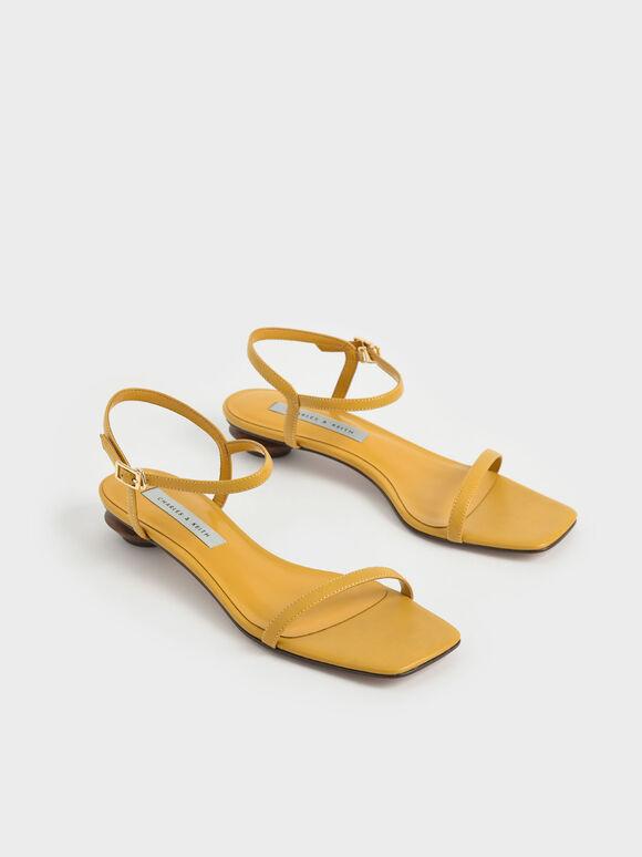 一字帶低跟涼鞋, 芥末, hi-res