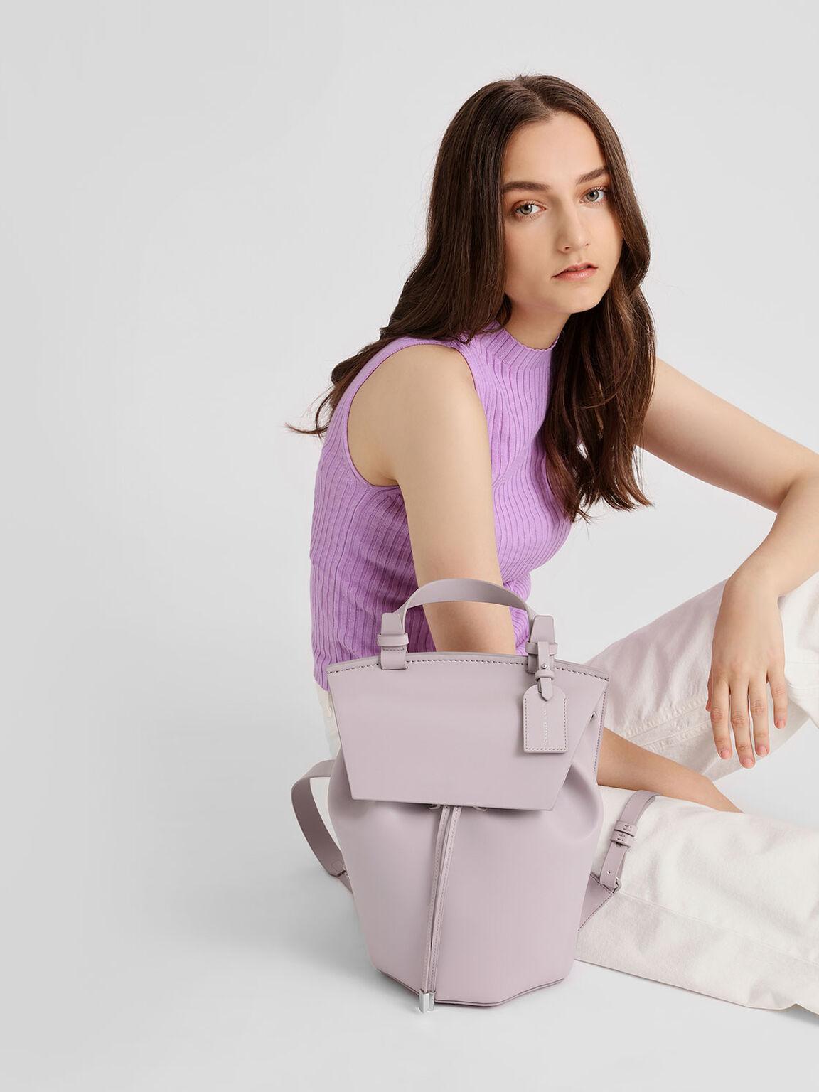 Classic Drawstring Backpack, Lilac, hi-res