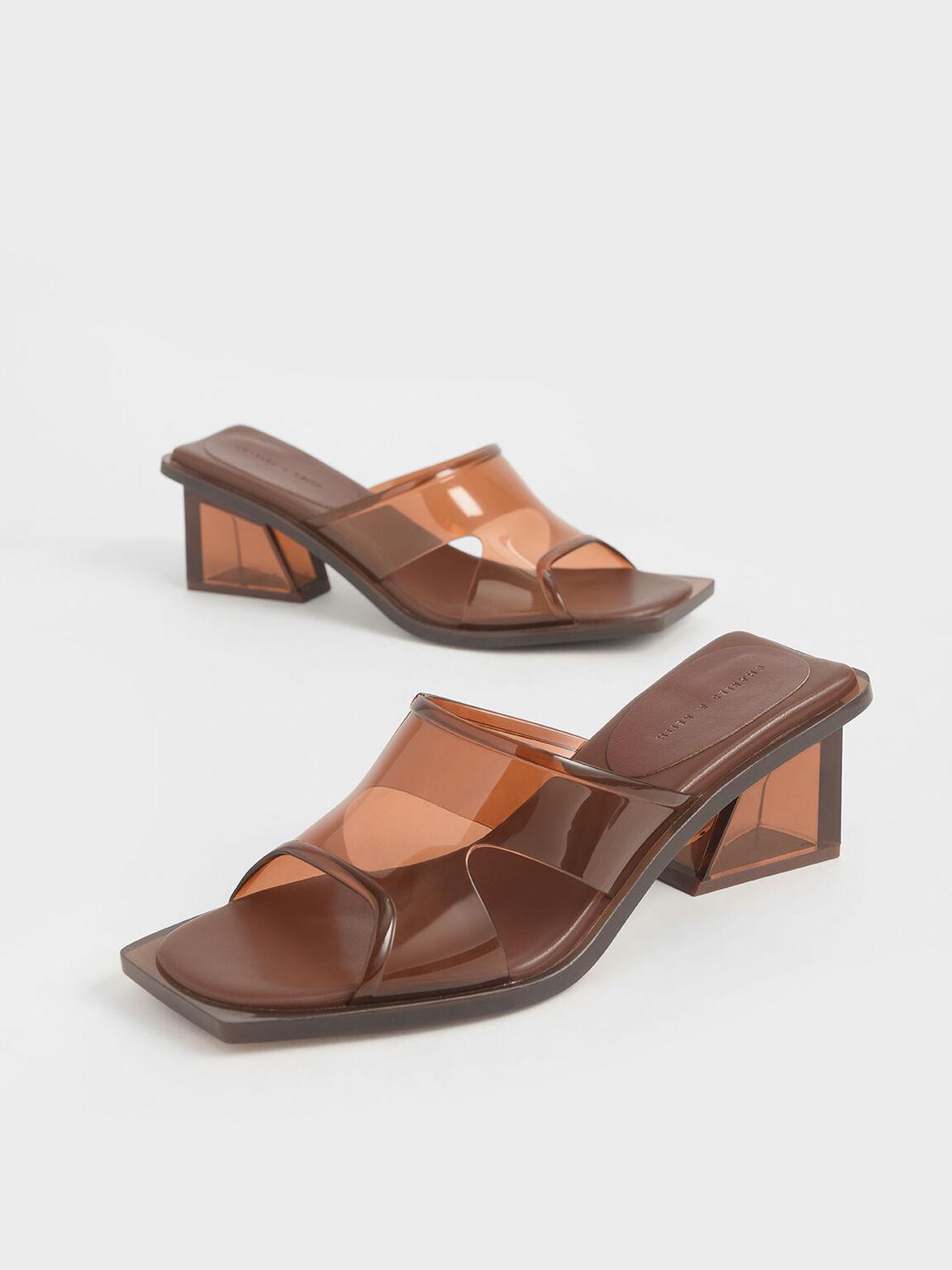 Acrylic Heel Mules, Brown, hi-res