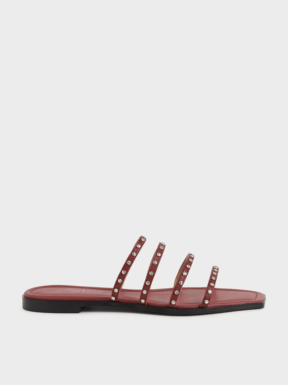 Studded Leather Flat Sandals, Brick, hi-res