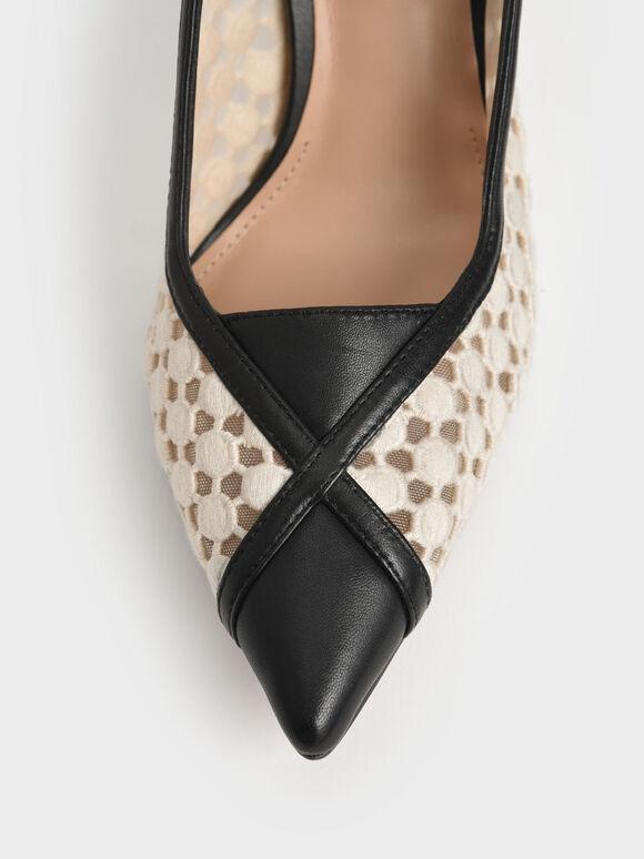 真皮蕾絲細跟鞋, 奶油色, hi-res