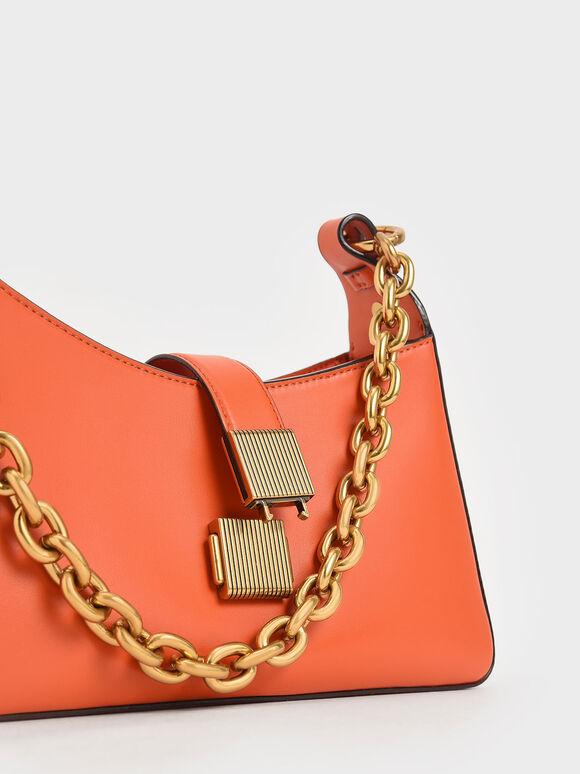 Chain Handle Shoulder Bag, Orange, hi-res