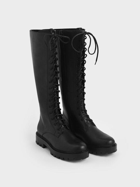 綁帶厚底長靴, 黑色, hi-res