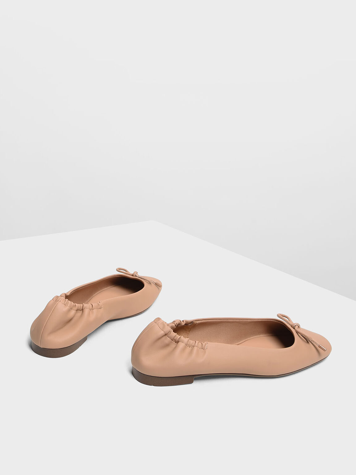 Bow Ballerina Flats, Nude, hi-res