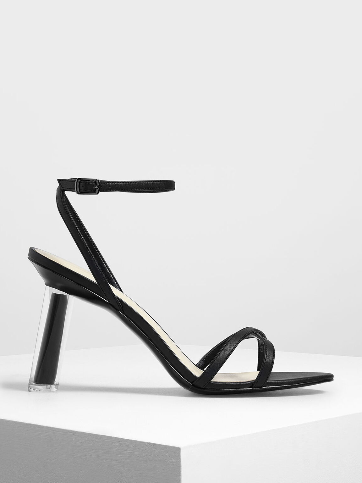 Criss Cross Sculptural Heel Sandals, Black, hi-res