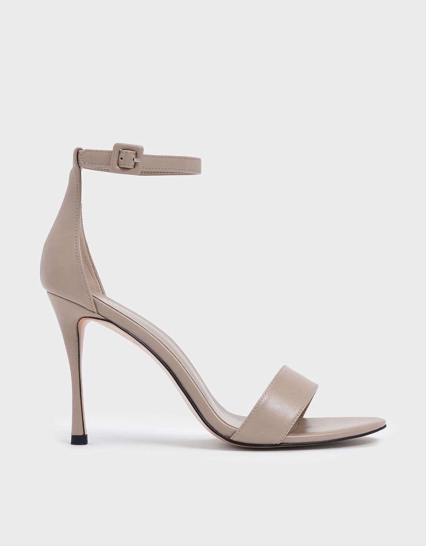 Nude Ankle Strap Stiletto Heels