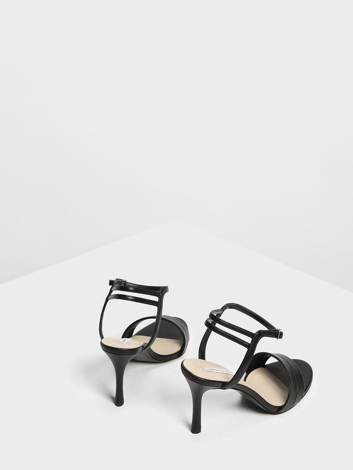 Black Strappy Heels, Black, hi-res