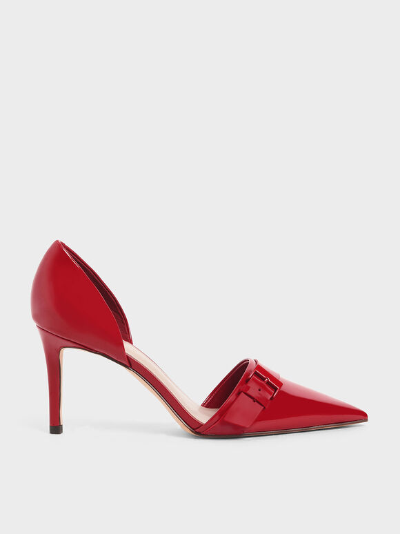 Patent Buckled D'Orsay Pumps, Red, hi-res
