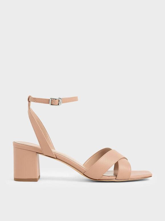 交叉寬帶涼鞋, 膚色, hi-res
