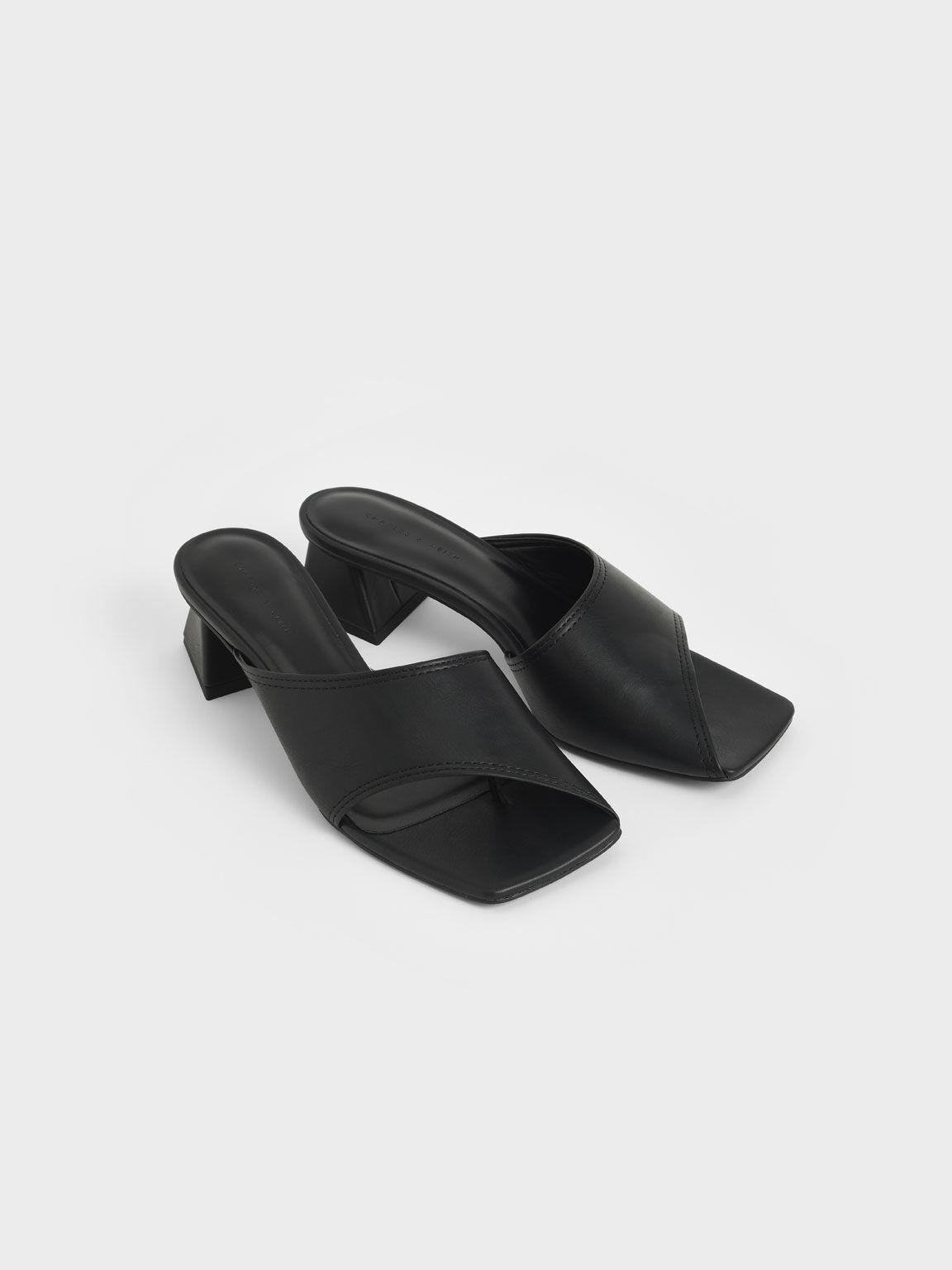 幾何挖空粗跟拖鞋, 黑色, hi-res
