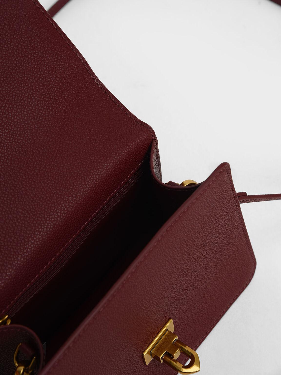 金扣掀蓋手提包, 酒紅色, hi-res