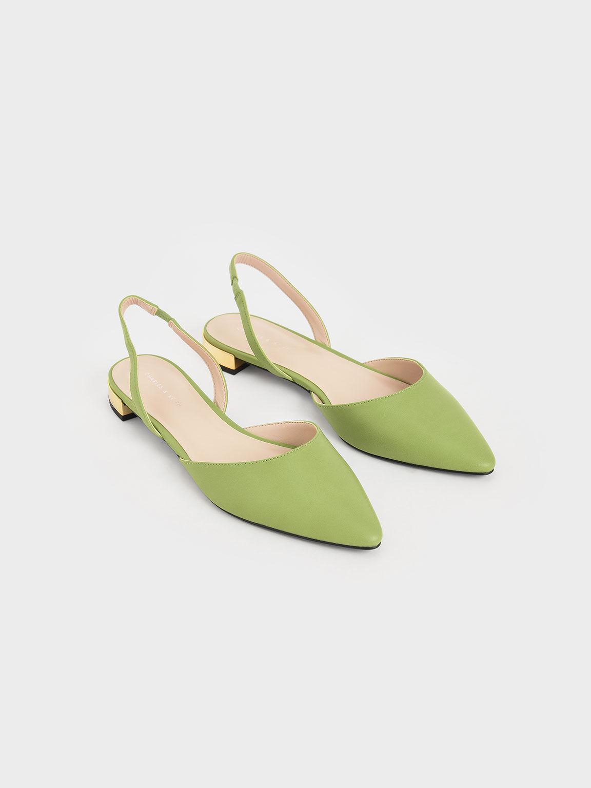 Metallic Heel Slingback Ballerinas, Green, hi-res