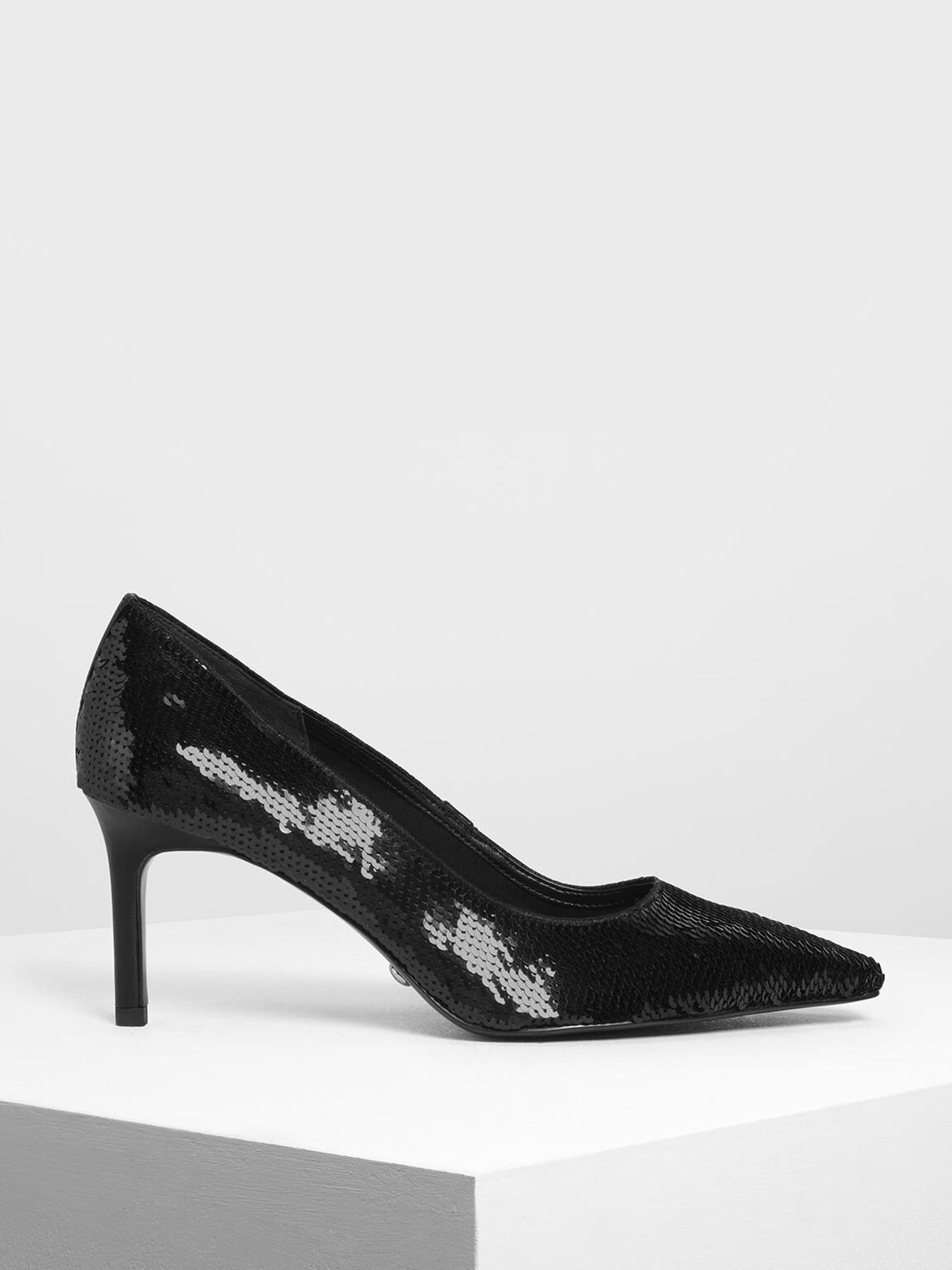 Sequin Mesh Pointed Toe Pumps, Black, hi-res