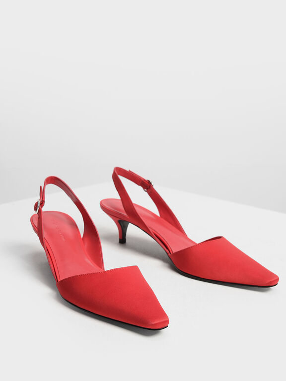Satin Closed Toe Slingback Heels, Red, hi-res