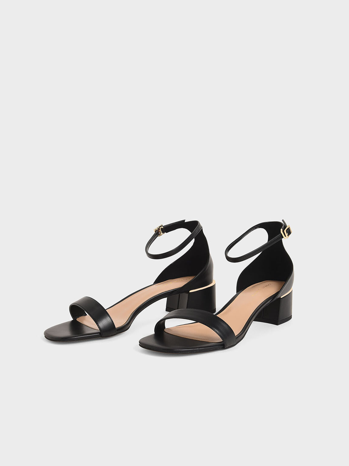 Ankle Strap Heeled Sandals, Black, hi-res