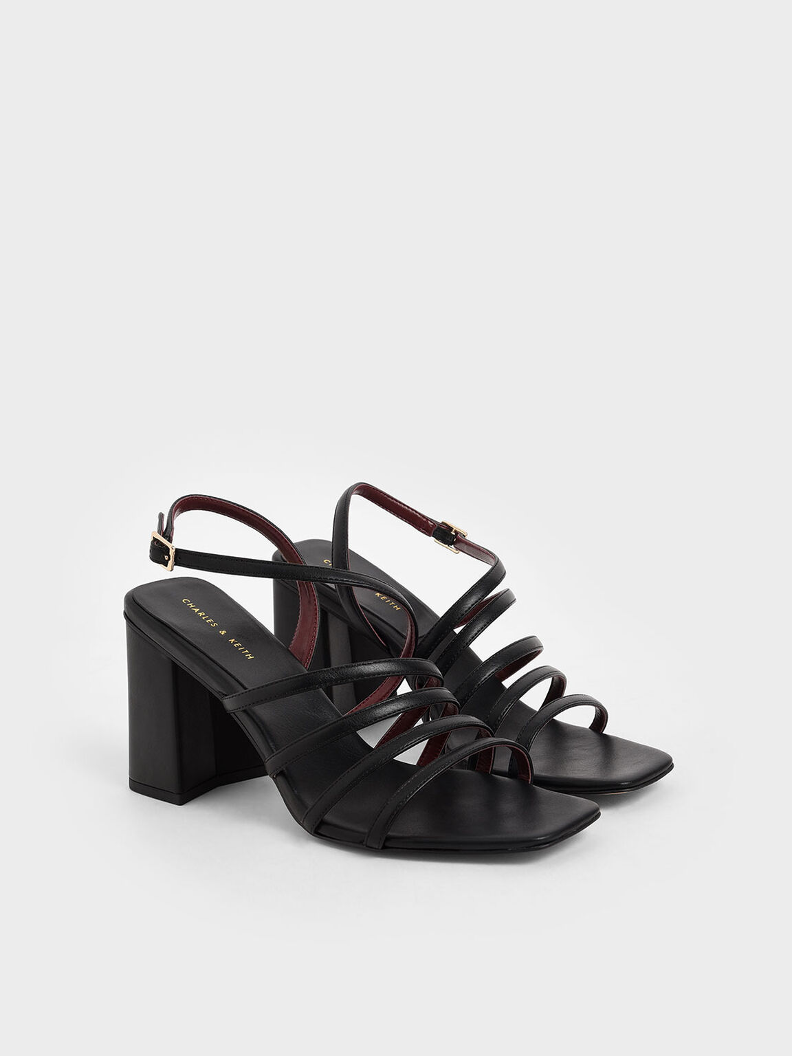 Strappy Chunky Heel Sandals, Black, hi-res