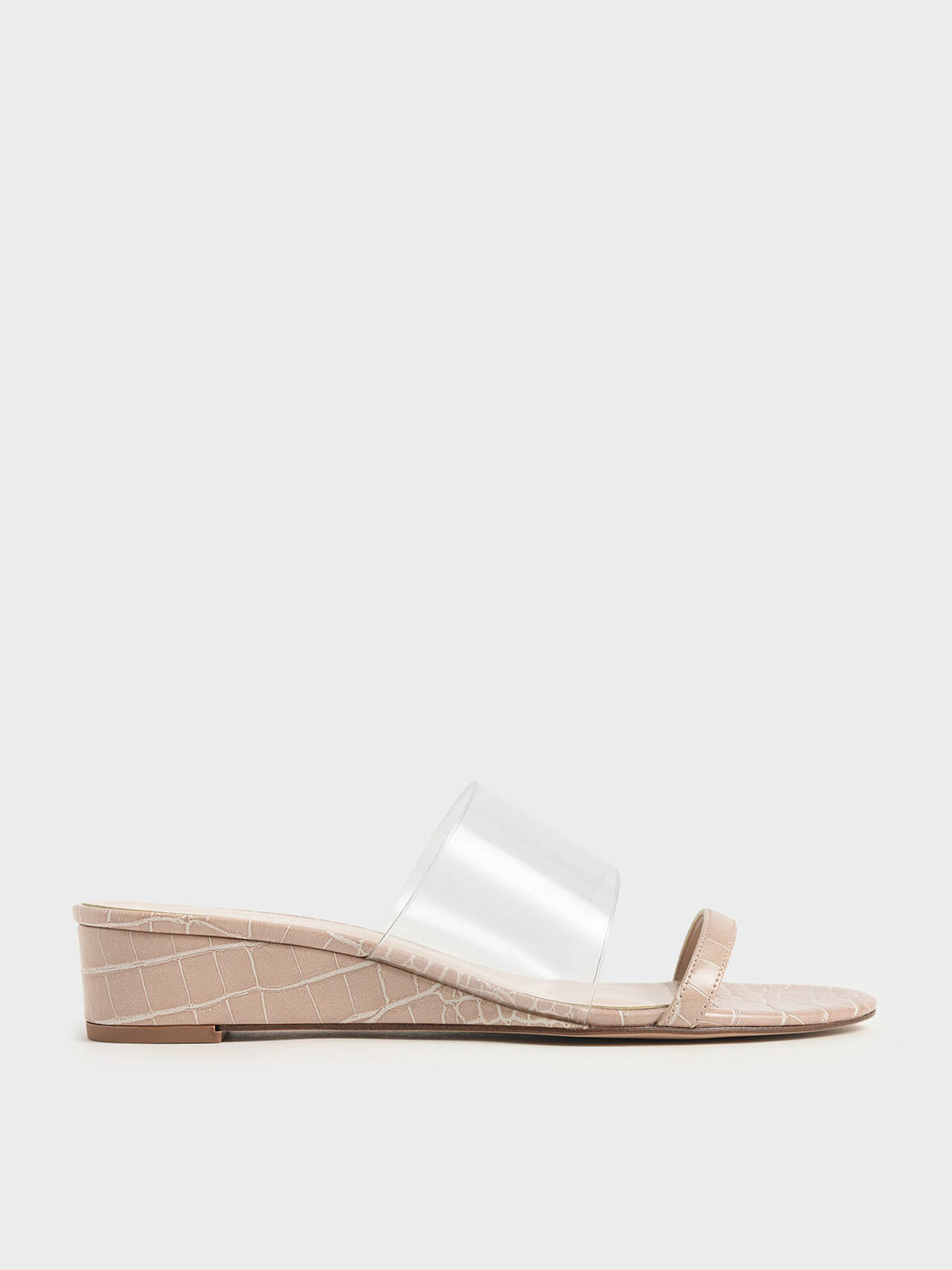 Croc-Effect Low Wedges, Nude, hi-res