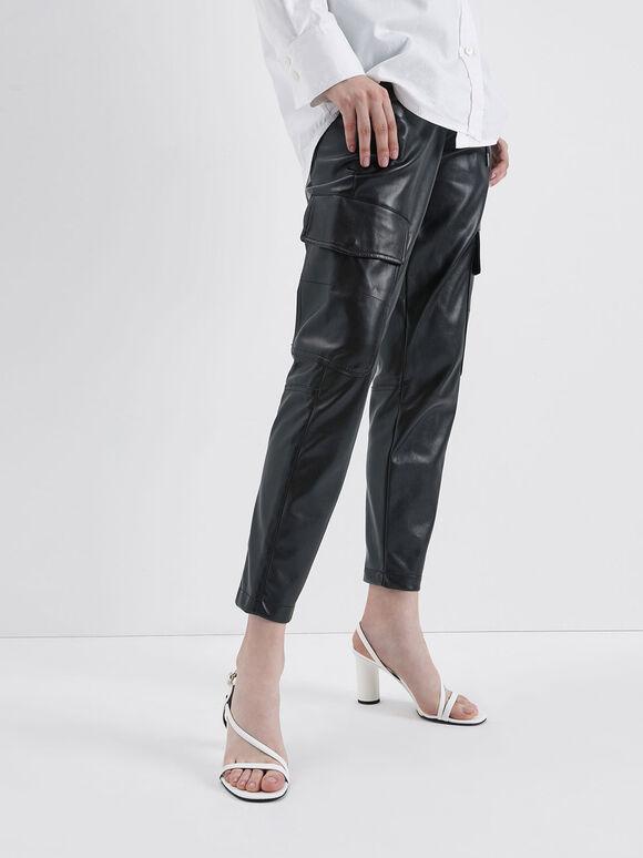 Asymmetric Strap Cylindrical Heel Sandals, White, hi-res