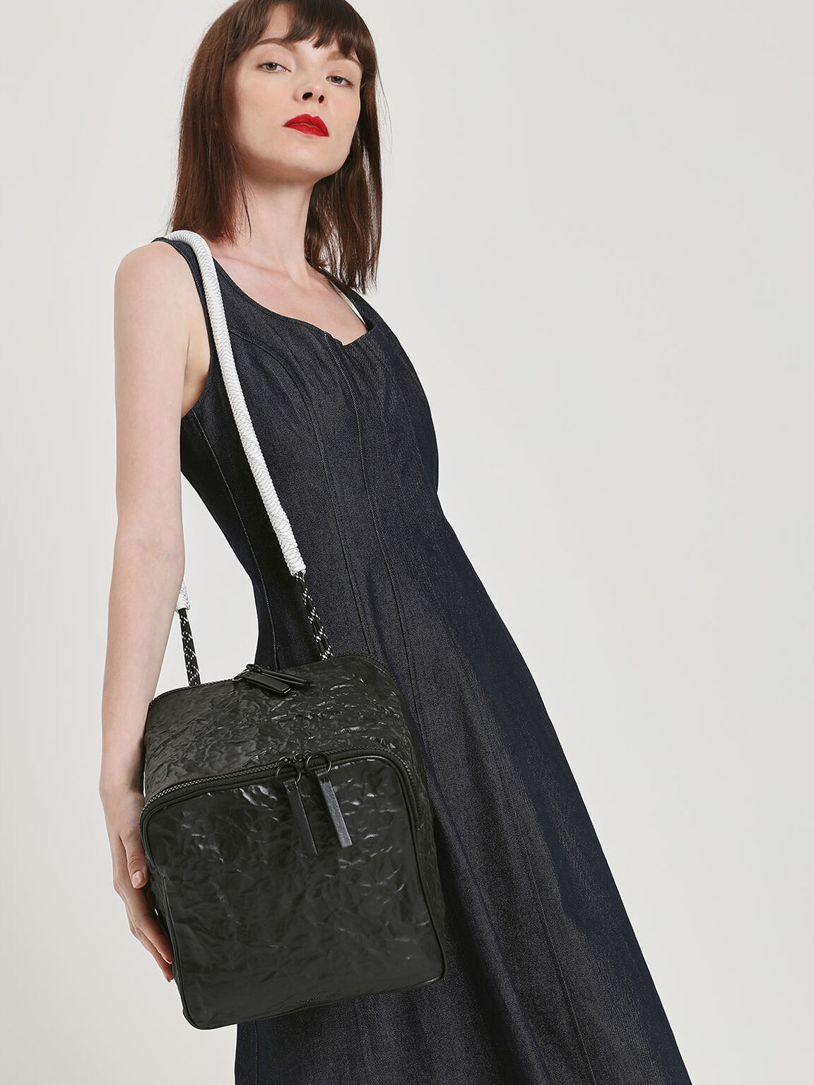 Rope Handle Wrinkled Effect Backpack, Black, hi-res