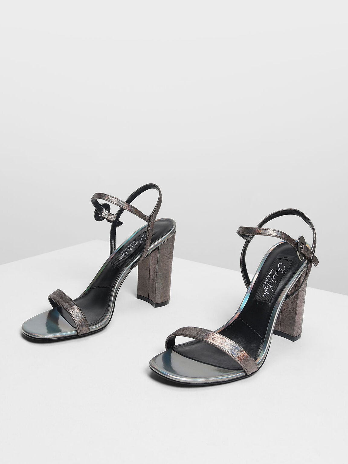 Block Heel Leather Sandals, Pewter, hi-res