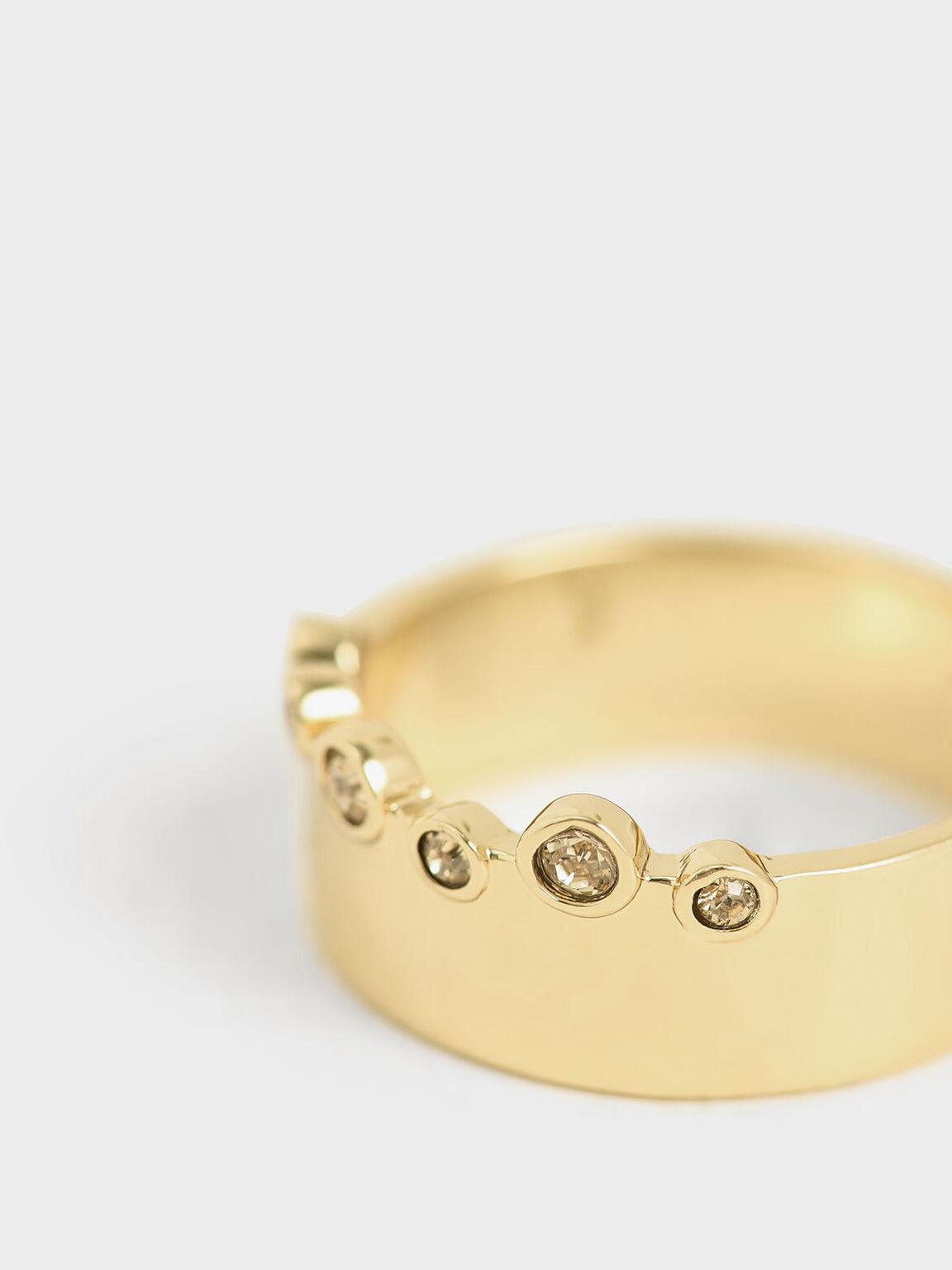 Swarovski® Crystal Studded Ring, Gold, hi-res
