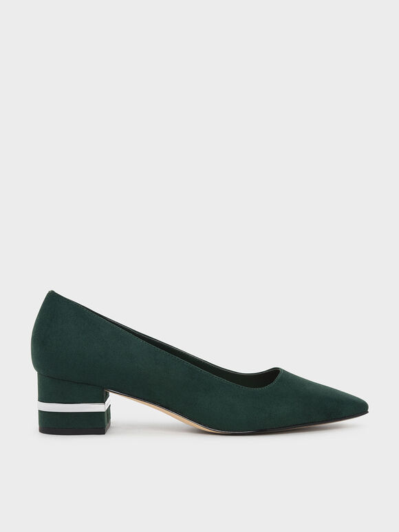 Metallic Accent Heel Pumps, Dark Green, hi-res
