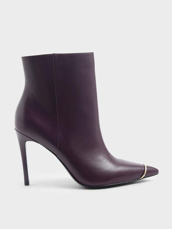 Metallic Accent Pointed Toe Stiletto Heel Boots, Purple, hi-res