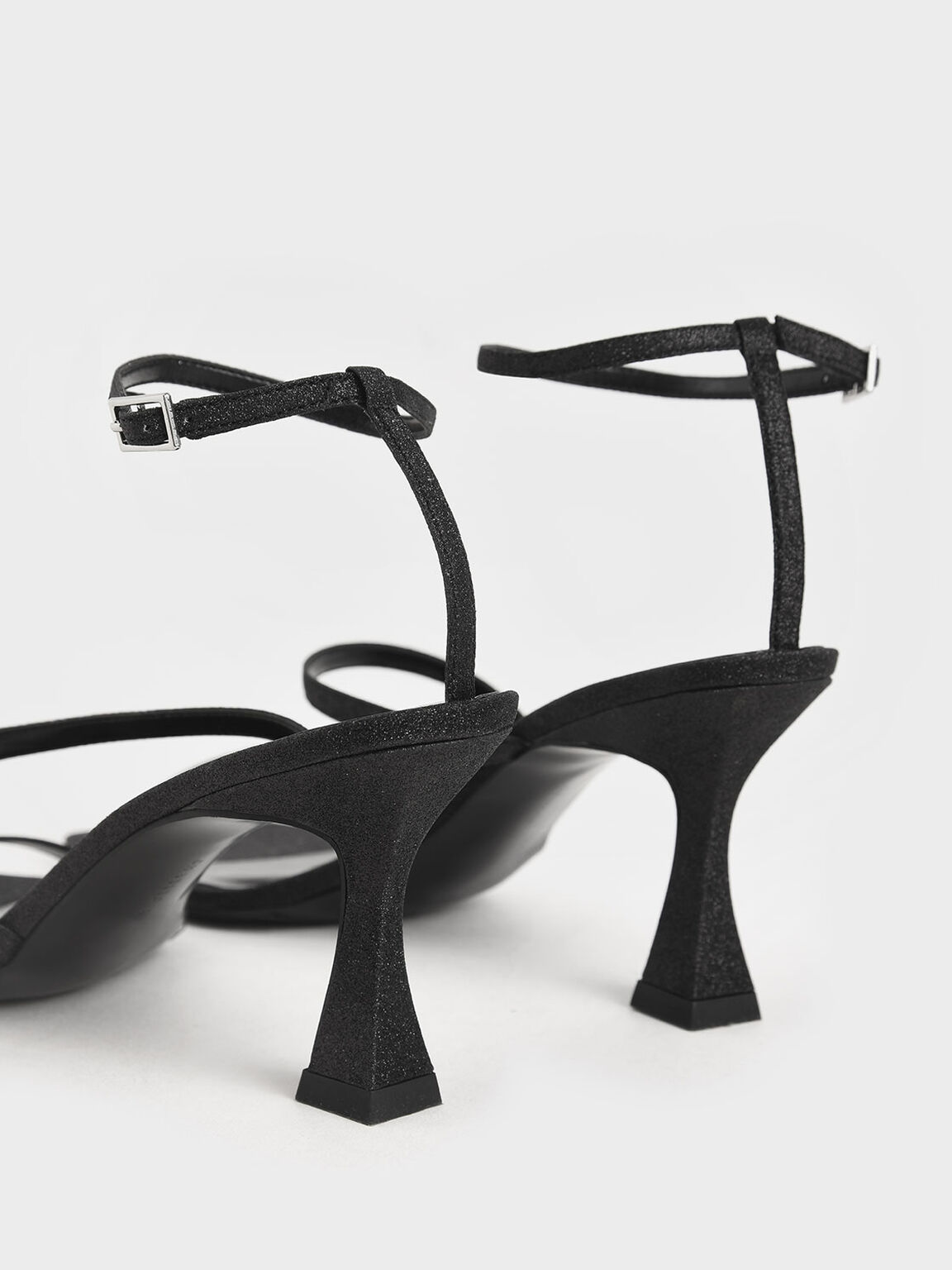Glitter Sculptural Heel Sandals, Black, hi-res