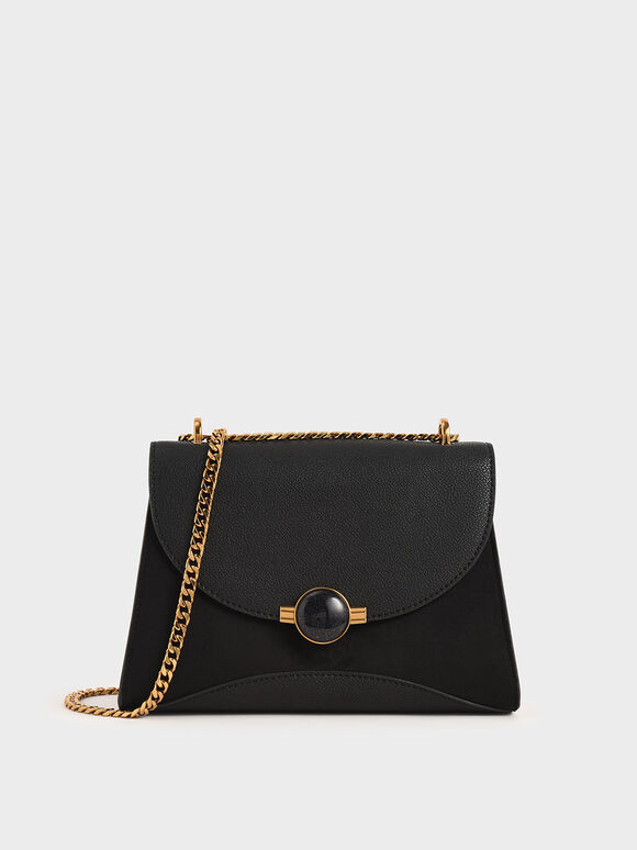 Embellished Push-Lock Bag, Black, hi-res