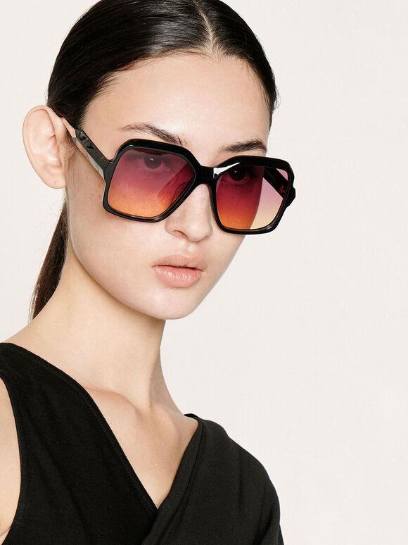 方形粗框墨鏡, 黑色, hi-res